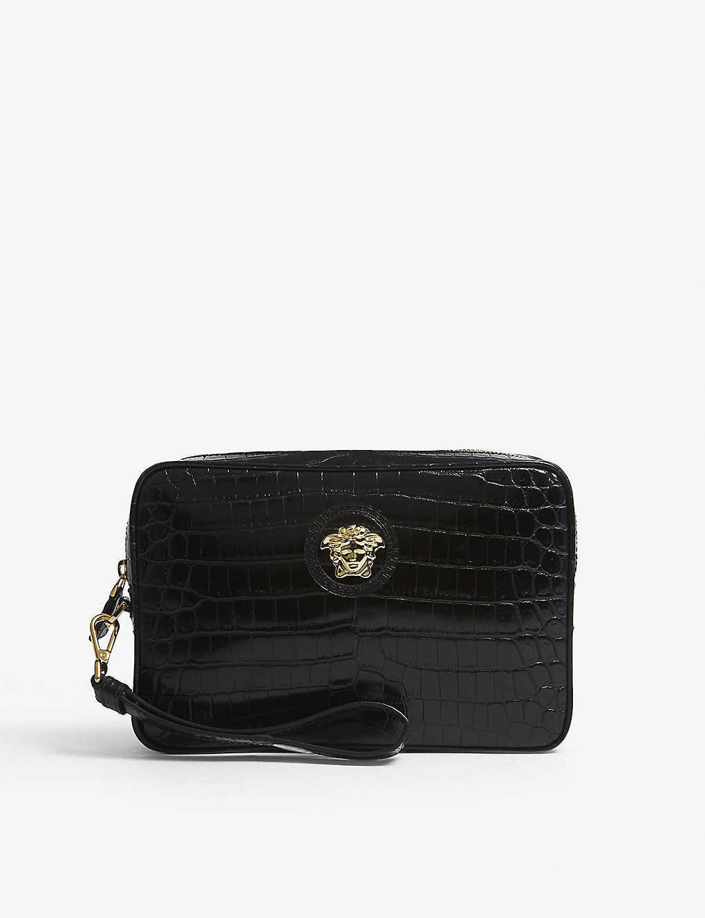 9521bcf3e6 VERSACE - Medusa crocodile-embossed leather clutch