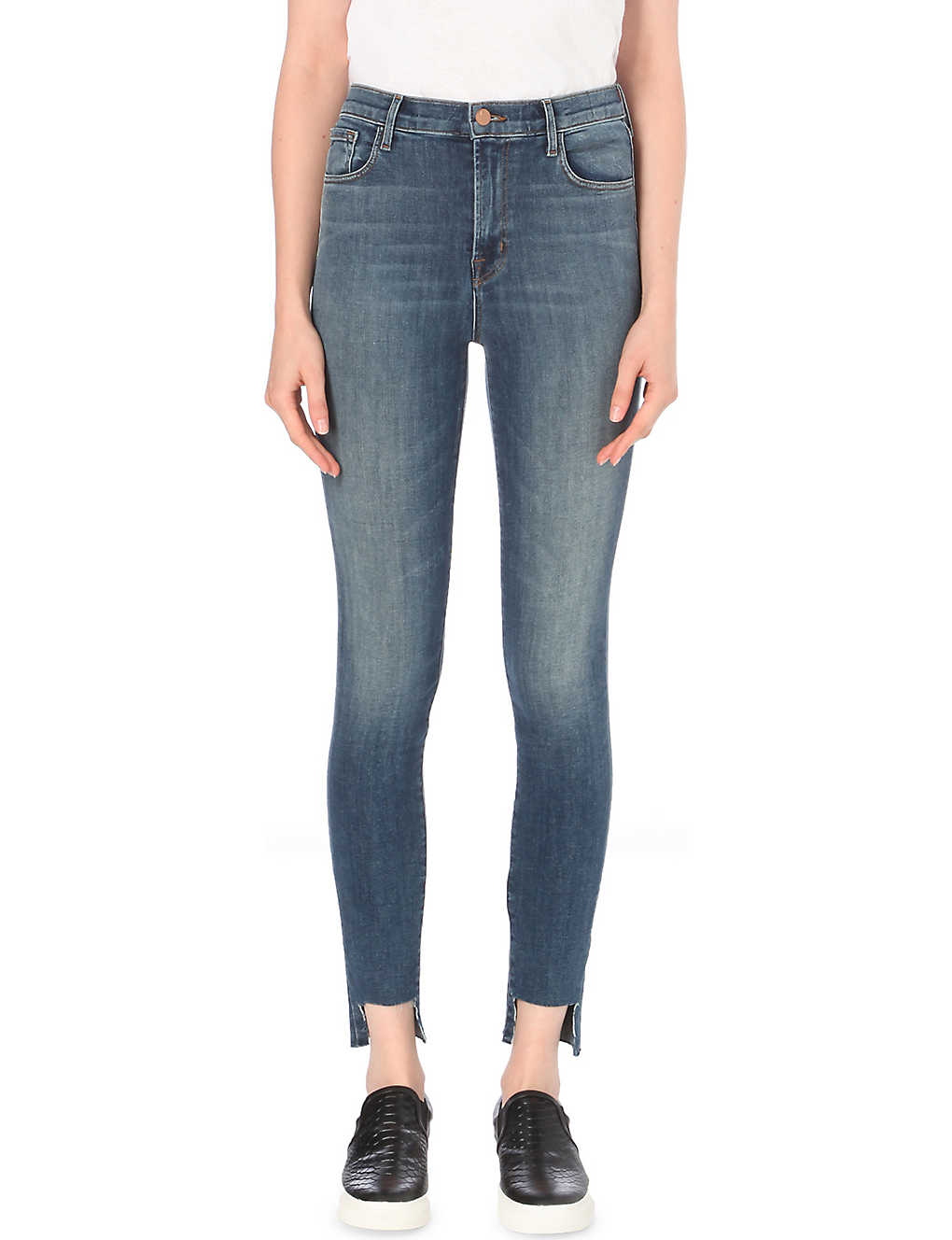 3ebd5010e849 J BRAND - Carolina stepped-hem skinny super high-rise jeans ...