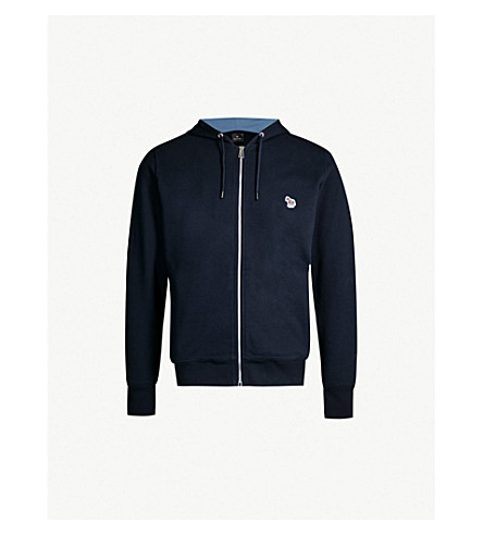 Zebra Embroidered Cotton Jersey Hoody by Ps By Paul Smith