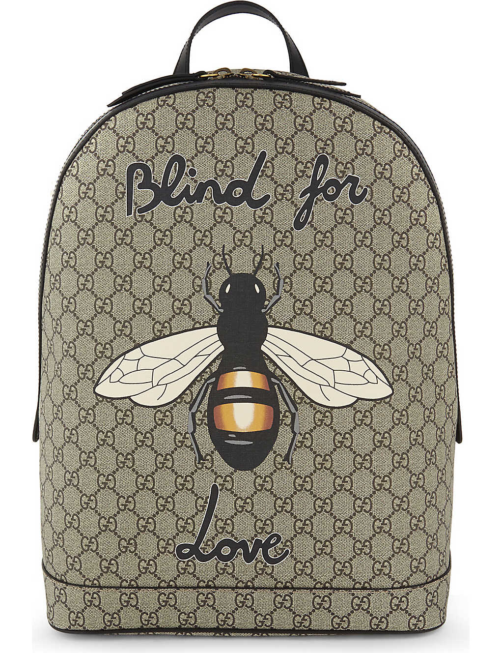 GUCCI - Bee print GG Supreme backpack  eb9d0ac61ecd7