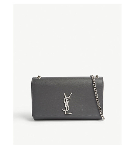 1c2ea6ad00 ... SAINT LAURENT Monogram Kate medium pebbled leather shoulder bag (Storm+ grey silver. PreviousNext