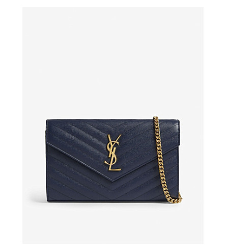 5fc9c09dc56b ... SAINT LAURENT Quilted wallet-on-chain (Denim+brut. PreviousNext