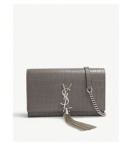 c118e8688a37 ... SAINT LAURENT Kate croc-embossed leather wallet-on-chain (Fog.  PreviousNext