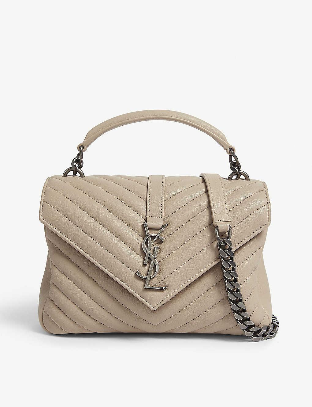 SAINT LAURENT - College monogram quilted leather shoulder bag ... 00d107a8995ab