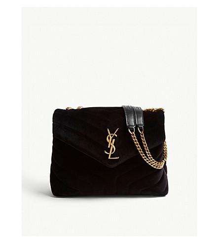 13675731a2 ... SAINT LAURENT Monogram Loulou small velvet shoulder bag (Black.  PreviousNext