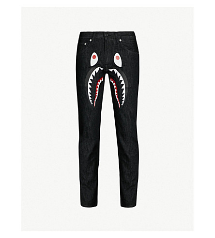 Shark Print Regular Fit Straight Jeans by A Bathing Ape
