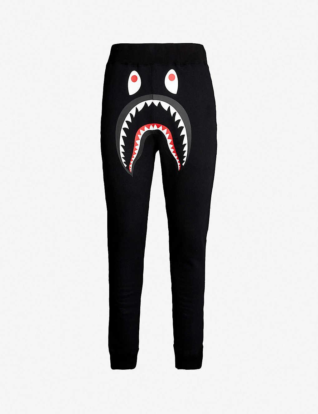 A BATHING APE - Shark-print cotton jogging bottoms  8bbcf0039a