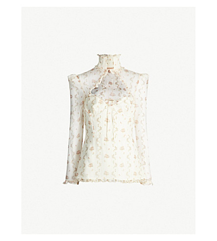 Oliera Floral Print Silk Georgette Top by Brock Collection