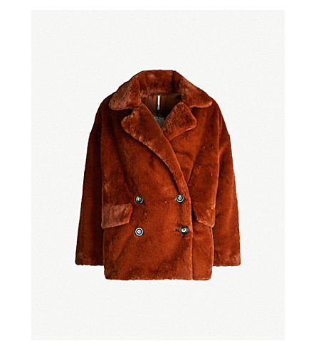 3bb83c47a689 ... FREE PEOPLE Kate double-breasted faux-fur jacket (Terracotta.  PreviousNext
