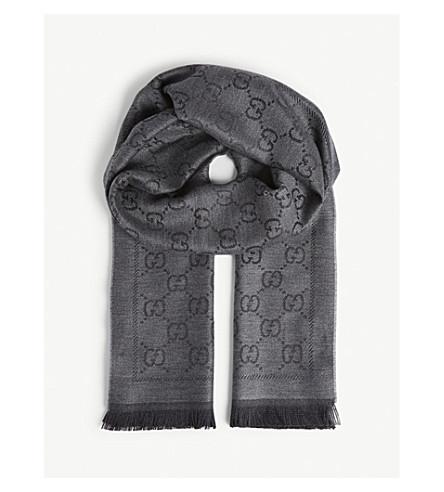a37b3a371706 ... GUCCI GG pattern wool scarf (Grey+black. PreviousNext