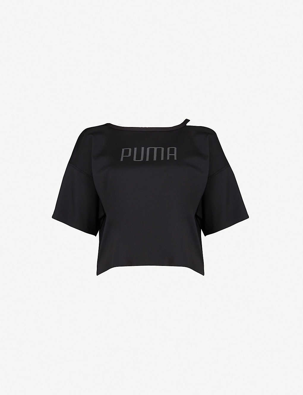 ef05835f2df70 PUMA - Explosive cold-shoulder stretch-jersey T-shirt