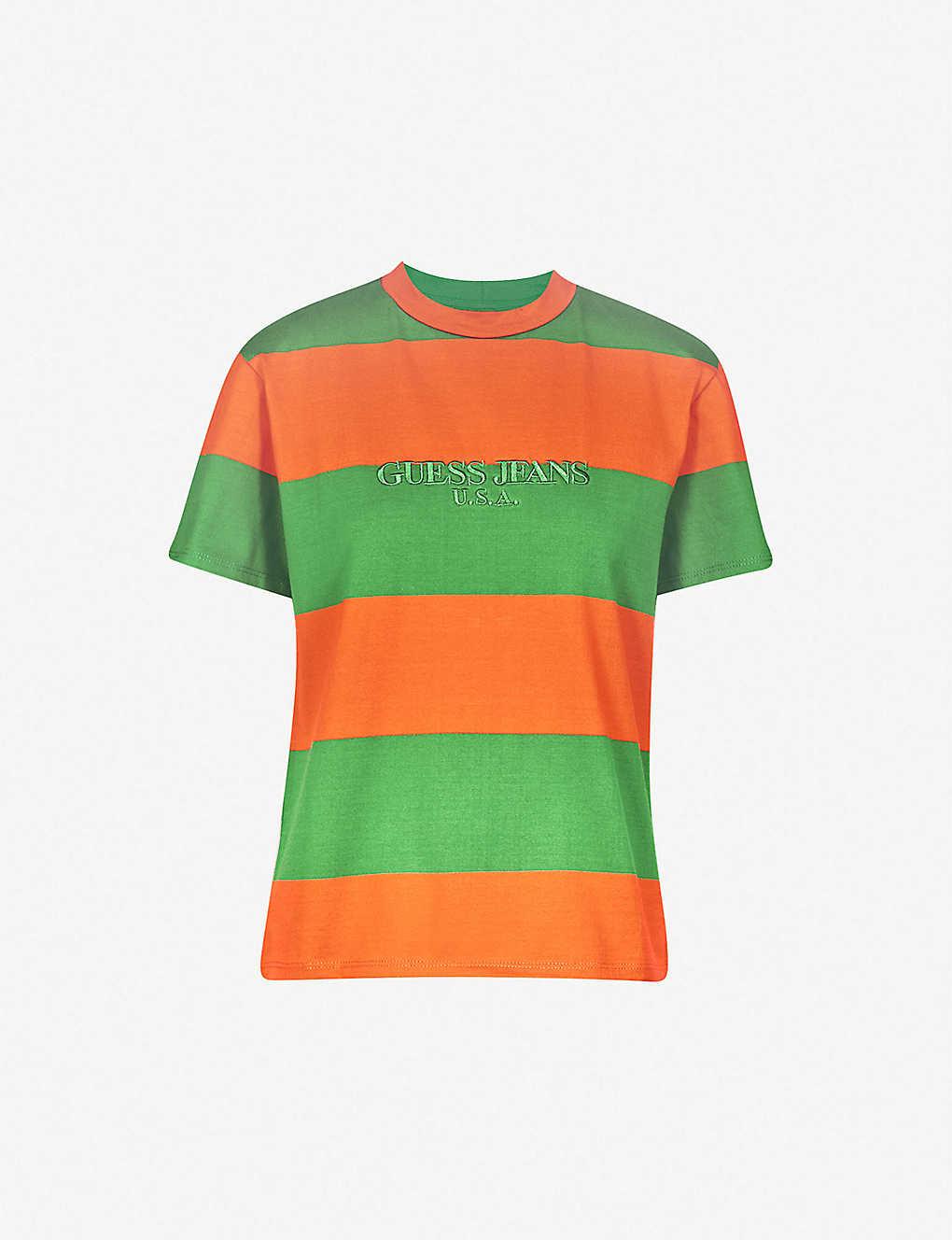 GUESS JEANS USA - Farmers Market logo-print striped cotton-jersey T ... fcfa82d55576