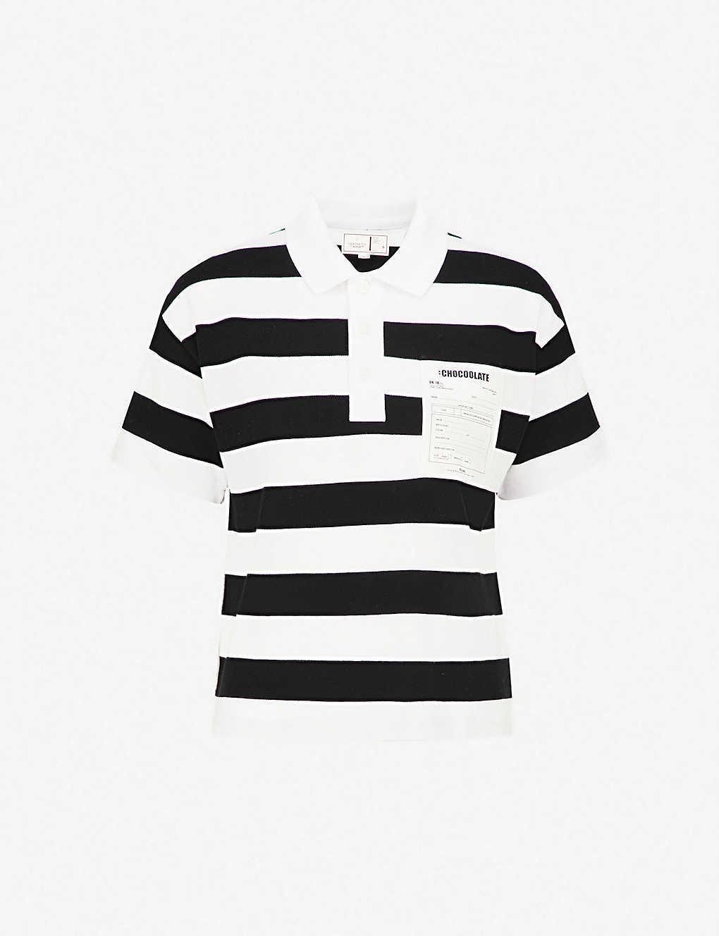 Chocoolate Monochrome Striped Cotton Polo Shirt Selfridges Com