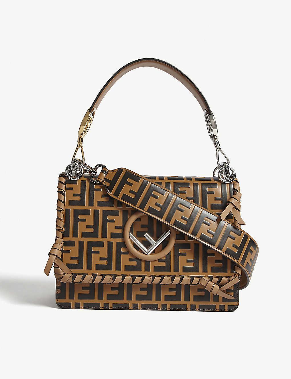 412e7f7f29b FENDI - Kan I logo medium leather shoulder bag   Selfridges.com