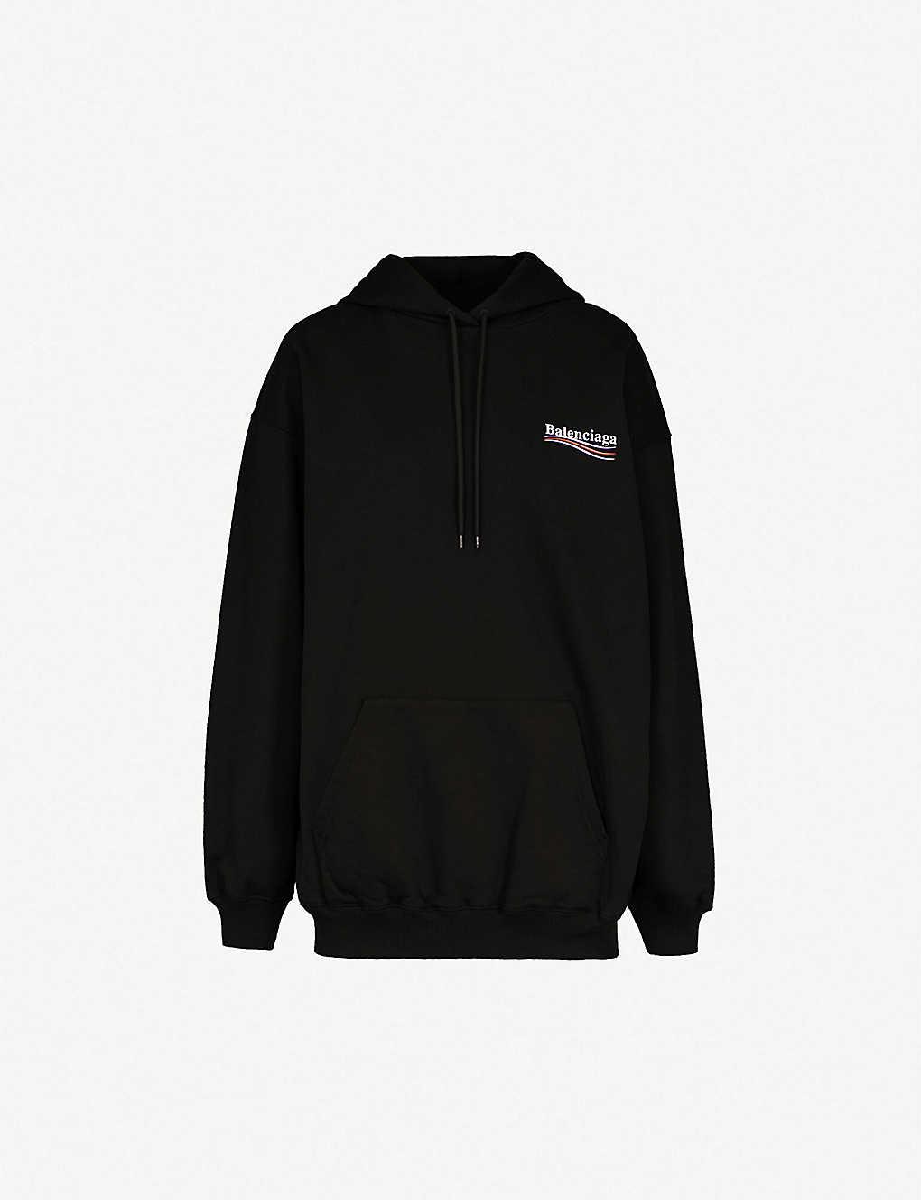 96c9ef6c2a5aa BALENCIAGA - Logo-print cotton-jersey hoody