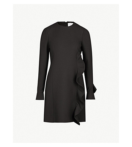 30455759 ... VALENTINO Ruffle wool and silk-blend dress (Nero. PreviousNext