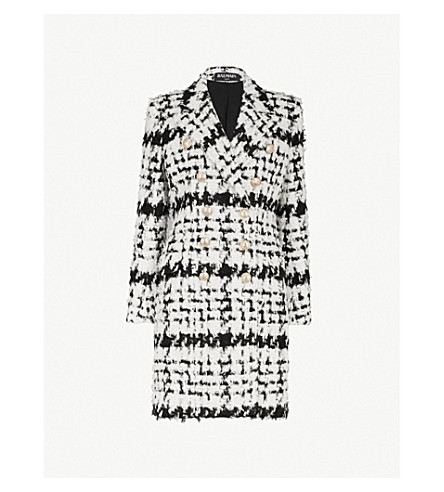 Checked Double Breasted Woven Coat by Balmain