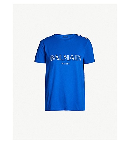 95e16bc54b07 ... BALMAIN Logo-print cotton-jersey T-shirt (Bleu+klein. PreviousNext