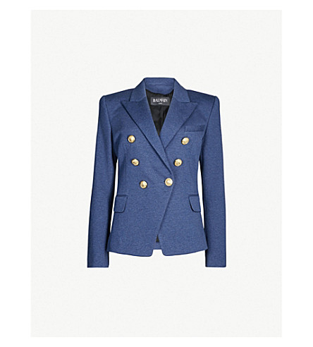 b82bf38d5c90 ... BALMAIN Double-breasted stretch-cotton jacket (Blue+jean. PreviousNext