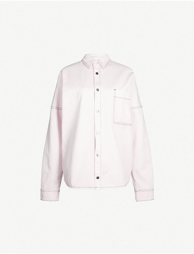 fd5e7d67de PALM ANGELS - Contrast-stitch logo-print denim shirt