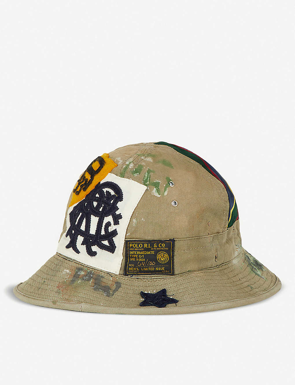 POLO RALPH LAUREN - Embroidered patch canvas bucket hat  249c89c38d5