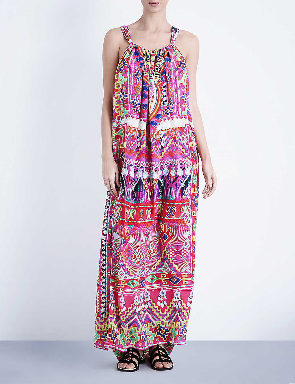 4fa828e557 CAMILLA - Sacred Weave drawstring silk-crepe maxi dress