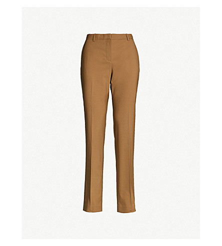 Straight High Rise Stretch Wool Trousers by Theory