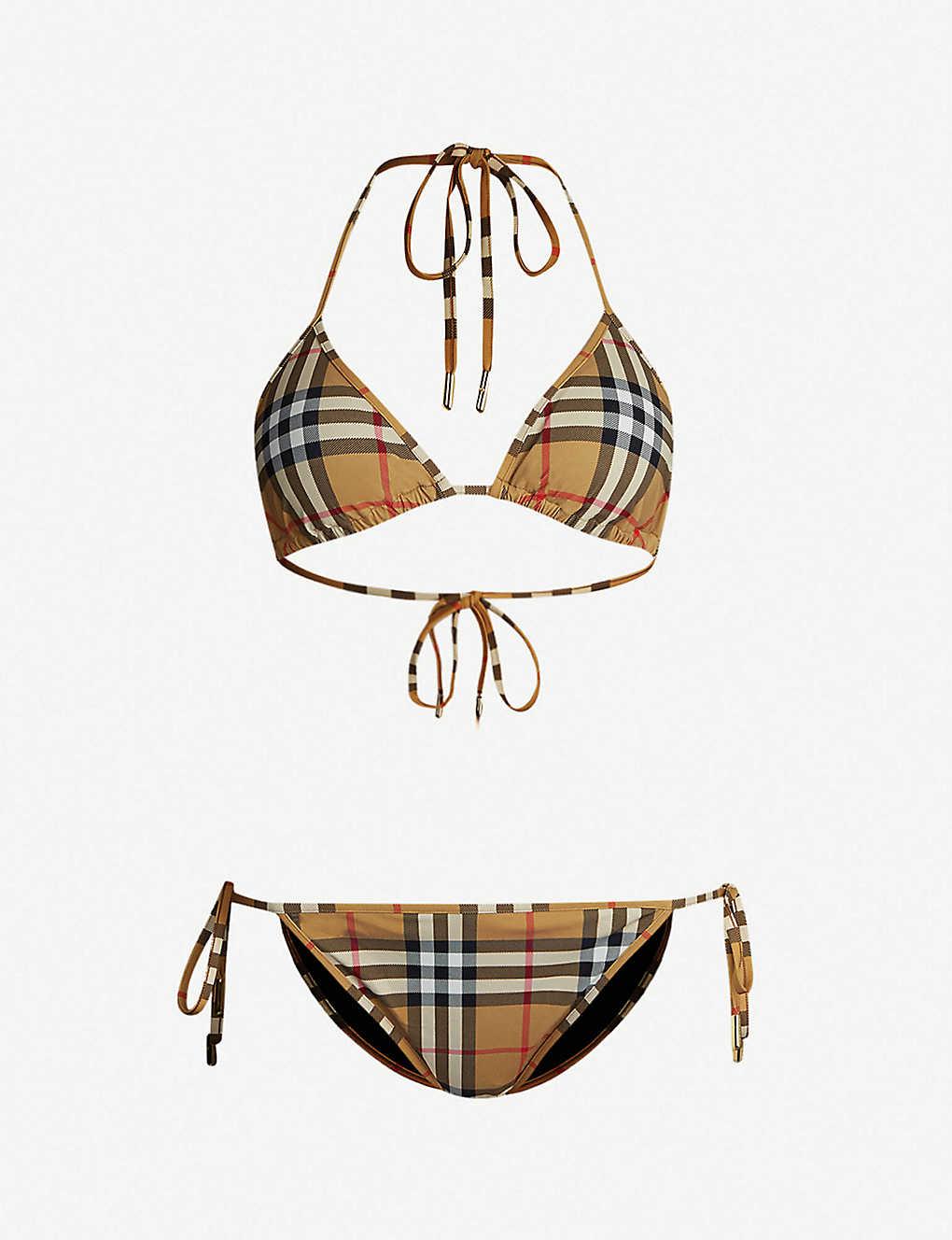 ded00b2d39477 BURBERRY - Checked triangle bikini