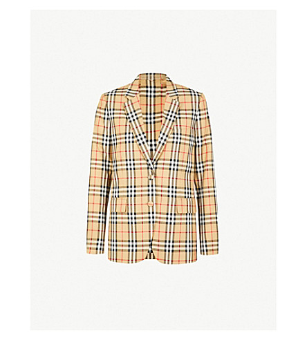 Checked Wool Jacket by Burberry
