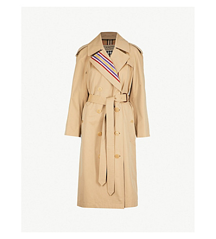 8b2fb8f1df7d ... BURBERRY Striped cotton trench coat (Honey. PreviousNext