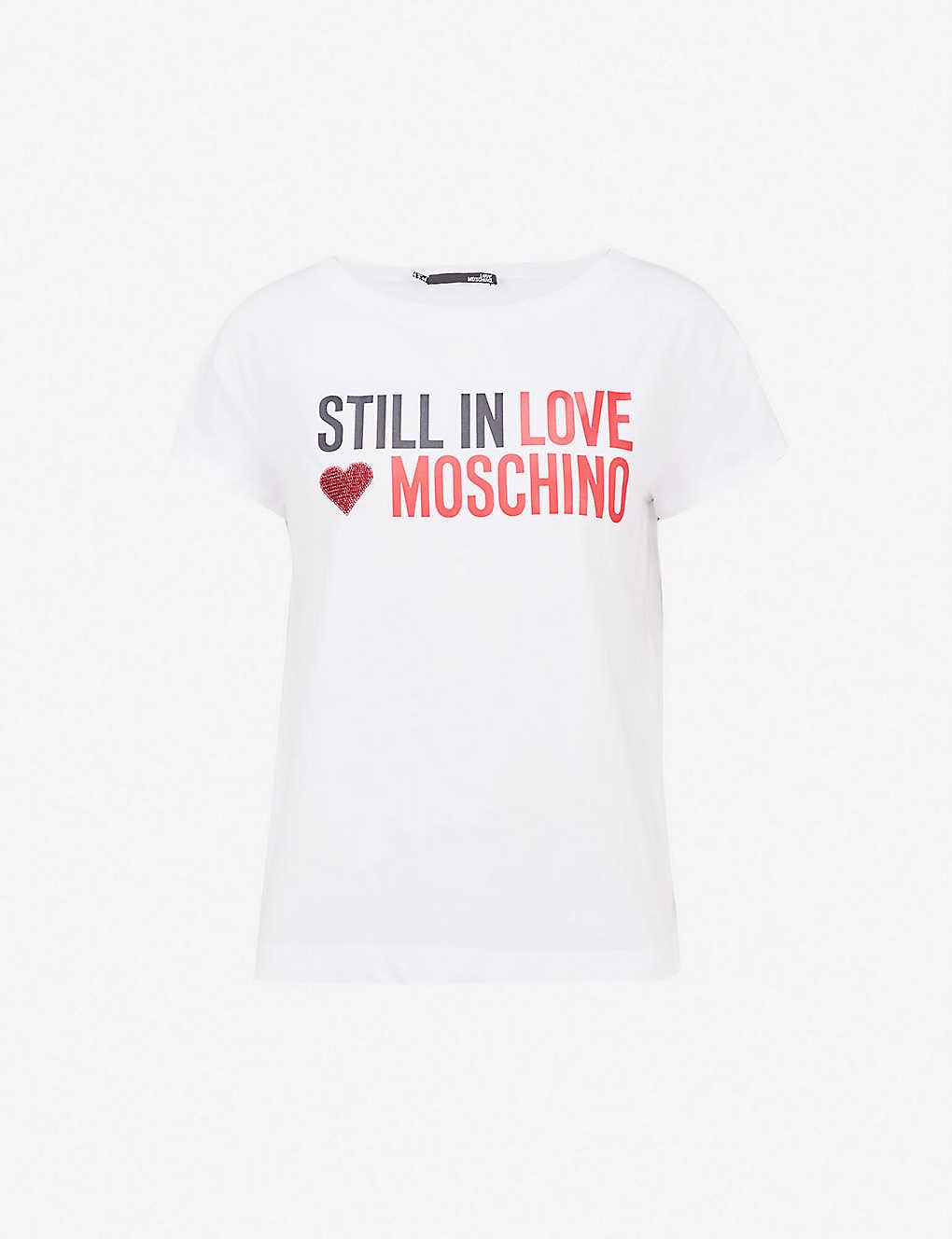 8917ff1334 LOVE MOSCHINO - Embellished logo-print cotton-blend T-shirt ...