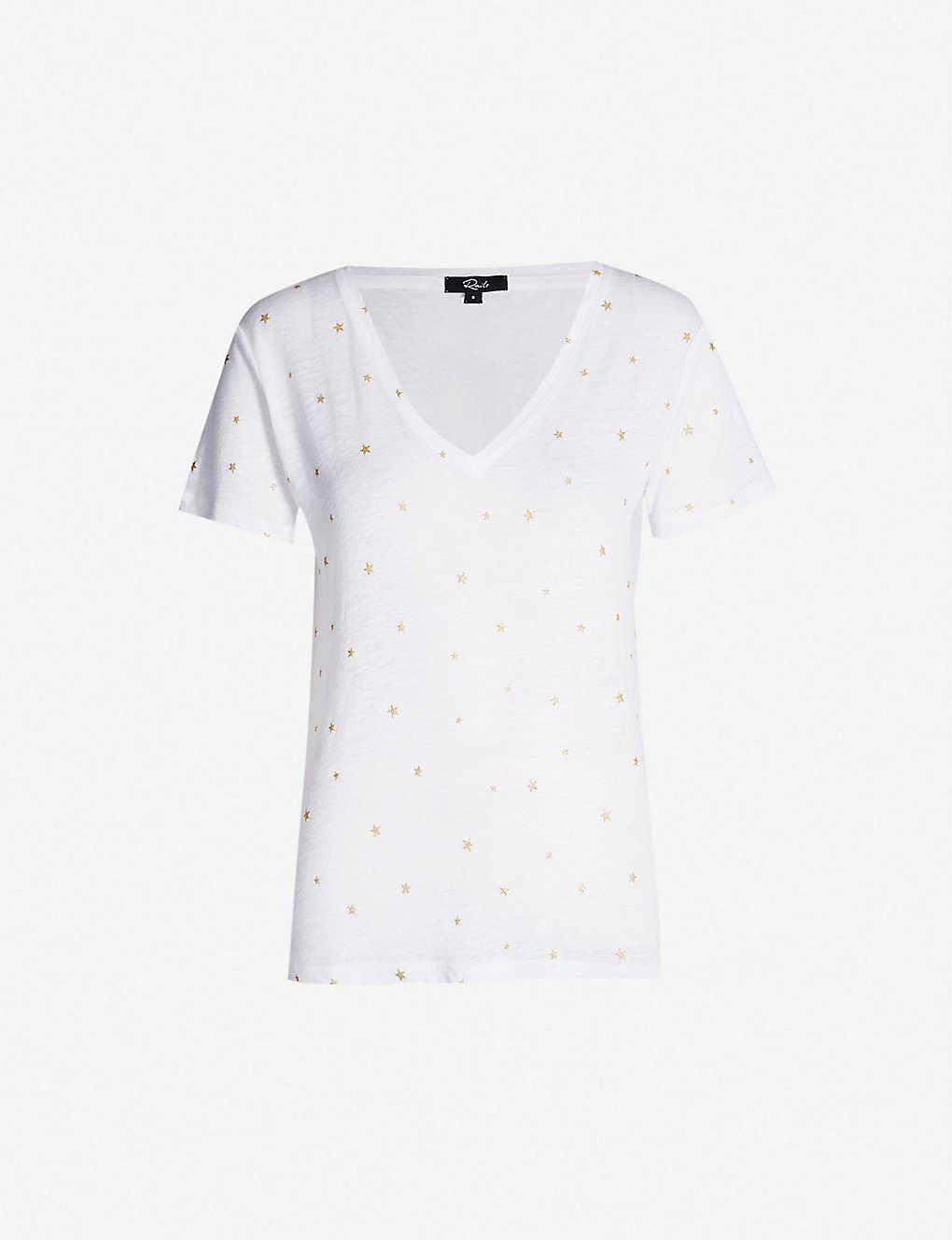 a3f2d26cfc964 RAILS - Cara foiled linen-blend T-shirt