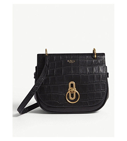 ... MULBERRY Amberley croc-embossed leather cross-body bag (Black.  PreviousNext a5fd646d6216c