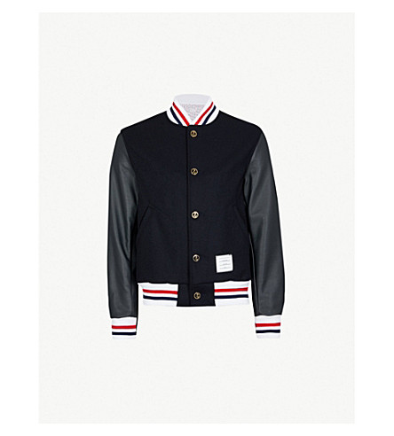 Varsity Wool And Leather Jacket by Thom Browne