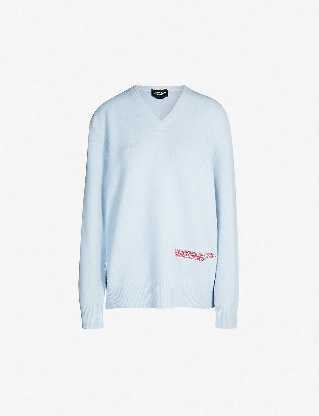 3c55992bac13 CALVIN KLEIN 205W39NYC - Logo-embroidered V-neck wool and cotton ...