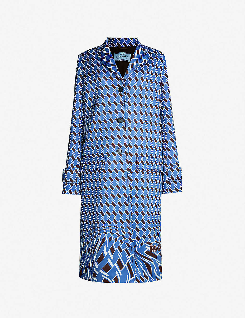 5b0921a89fe0e PRADA - Geometric-print woven coat
