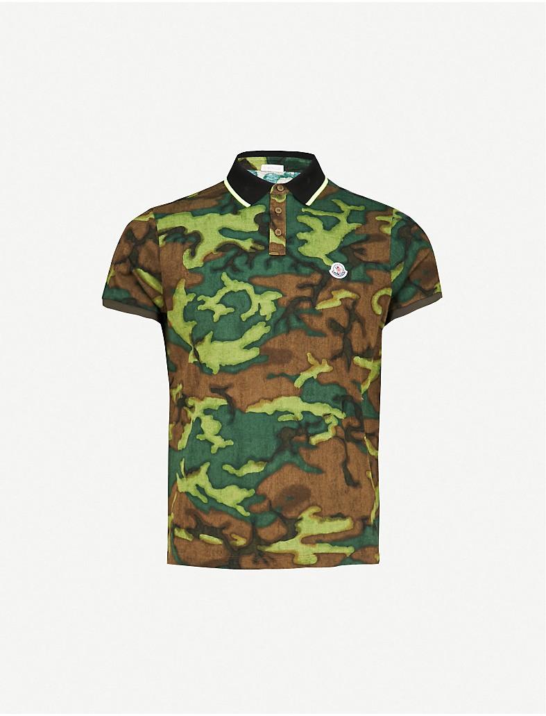 d5c9959b06e8 MONCLER - Camouflage pattern cotton-piqué polo shirt