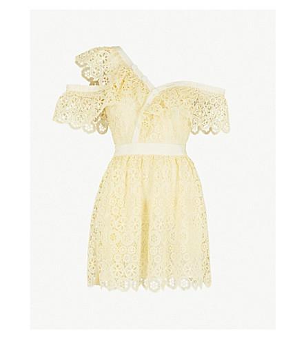 191038a7638ed ... SELF-PORTRAIT Off-the-shoulder guipure-lace mini dress (Yellow.  PreviousNext