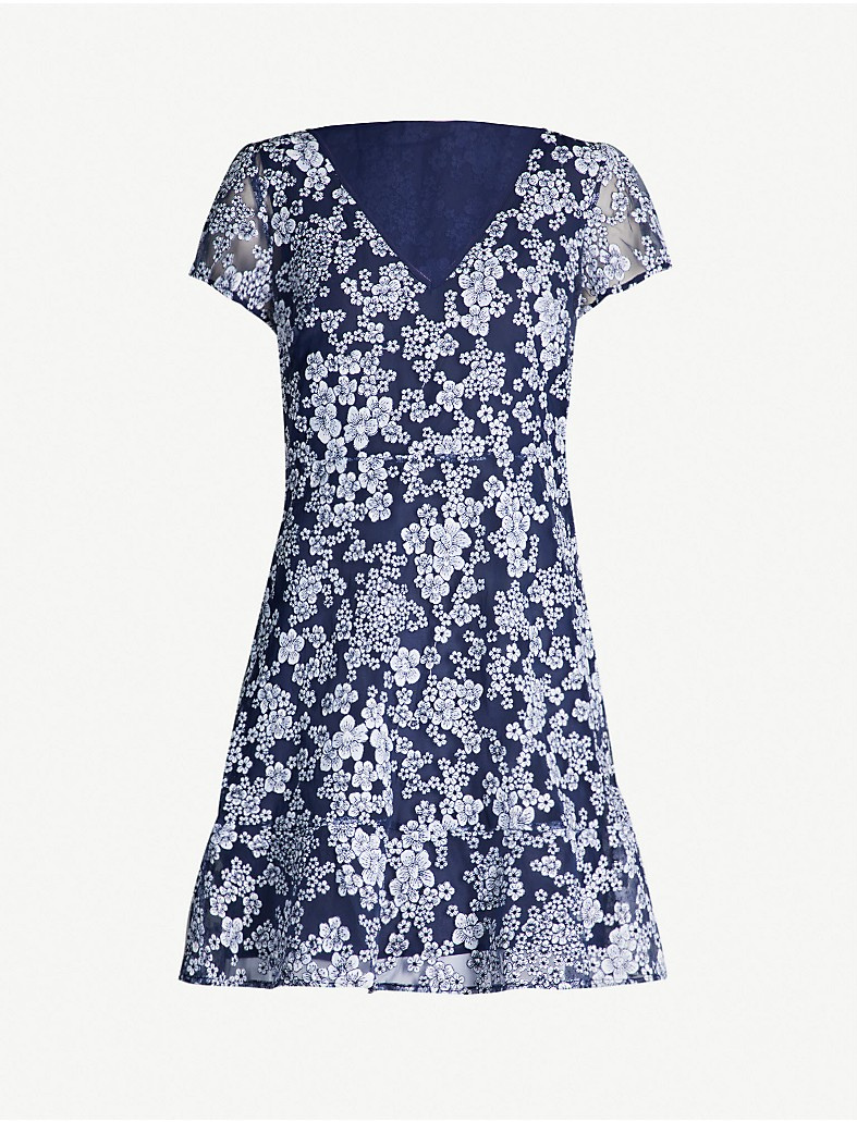 21773203075 MICHAEL MICHAEL KORS - Floral-embroidered flared tulle dress ...
