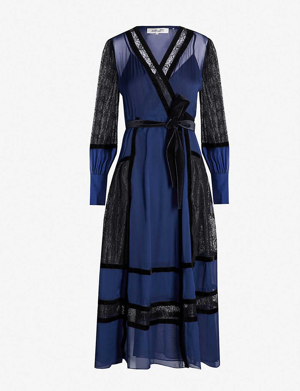 458e748fc0141 DIANE VON FURSTENBERG - Forrest silk and velvet wrap dress ...
