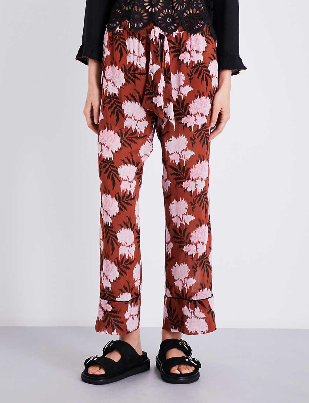 412f21f0665 GANNI - Monette straight cropped chiffon trousers   Selfridges.com