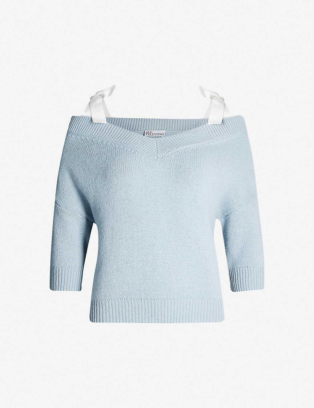 7db5f49fa8 RED VALENTINO - Off-the-shoulder wool jumper