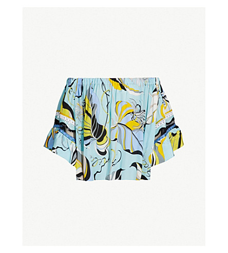 595df098922505 ... EMILIO PUCCI Celeste off-the-shoulder floral-print silk top (Celeste.  PreviousNext