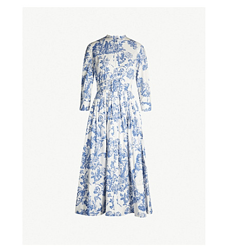 6a6a080b5f ... OSCAR DE LA RENTA Belted floral-print stretch-cotton midi dress (Blue.  PreviousNext