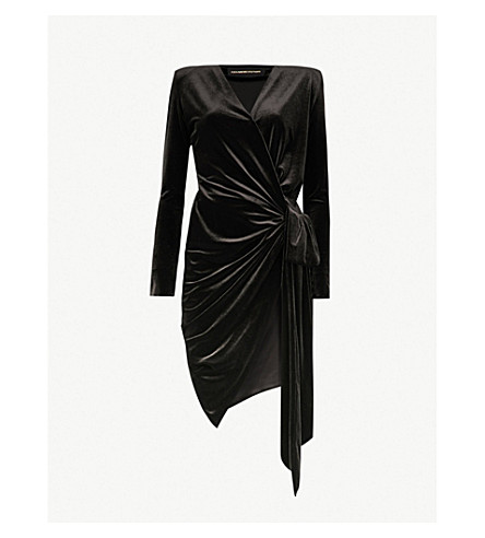 d97de03d1d ... ALEXANDRE VAUTHIER Wrap-over velvet dress (Black. PreviousNext