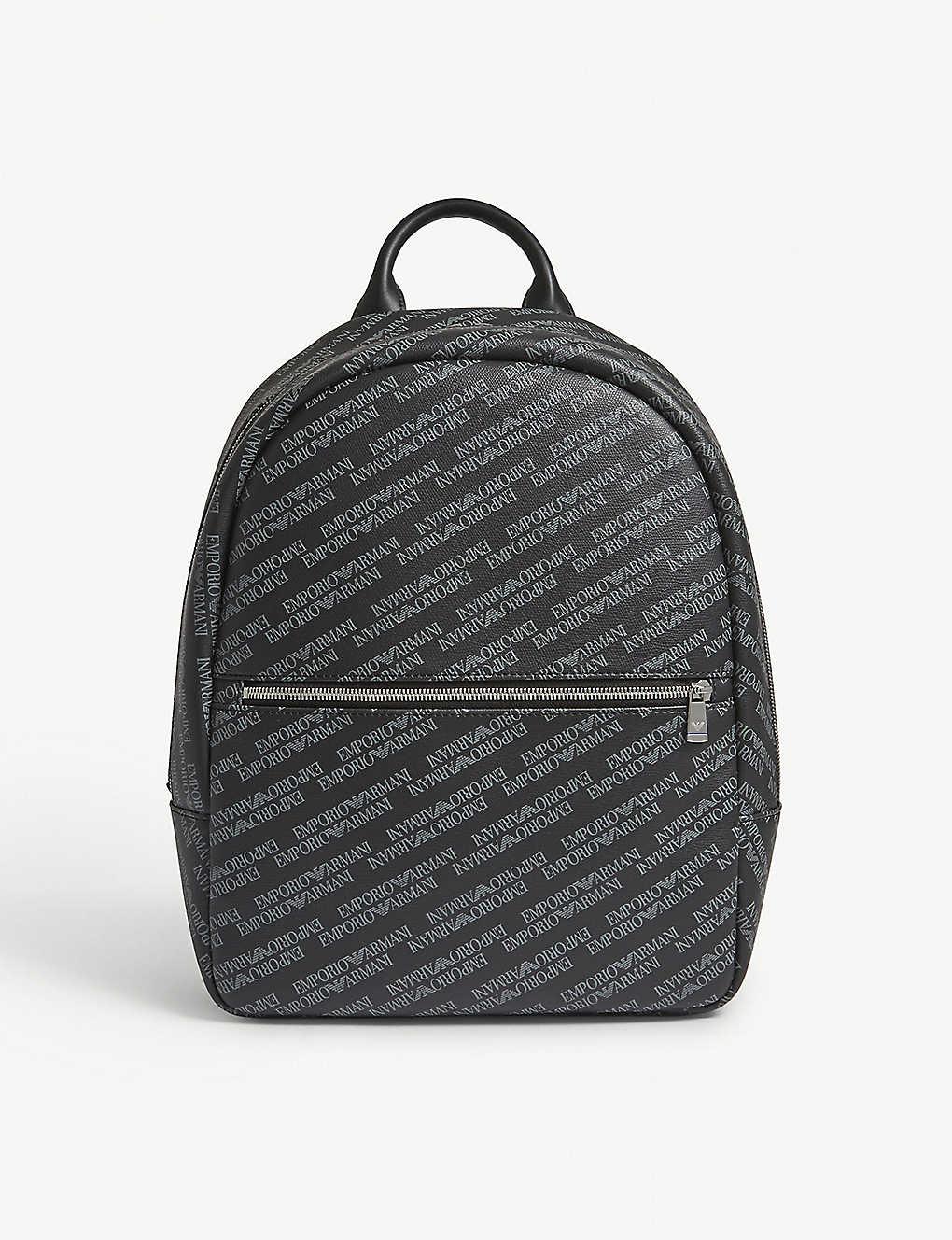 EMPORIO ARMANI - Logo-print leather backpack  4ff83165ab584