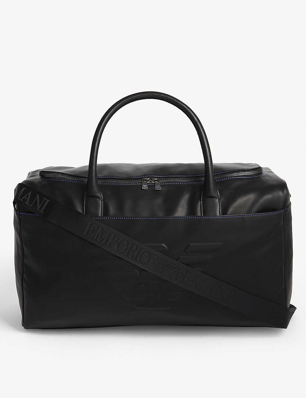 EMPORIO ARMANI - Embossed logo leather holdall bag  3927898e11053