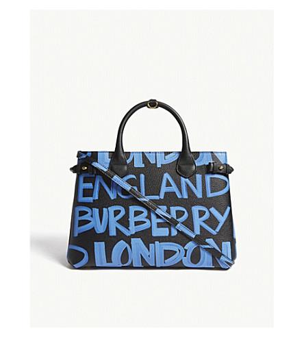 de37a68a870e ... BURBERRY Banner graffiti medium leather tote (Black+blue. PreviousNext