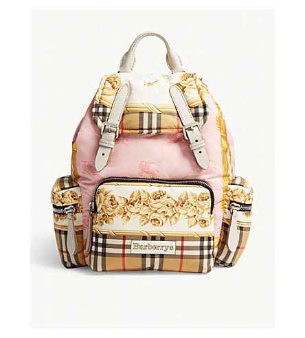 cce31d437b98 ... BURBERRY Floral and check vintage canvas rucksack (Stone. PreviousNext