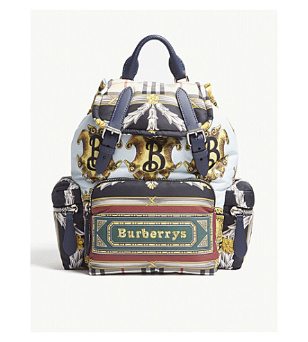 f87a845f3167 ... BURBERRY Scarf print rucksack (Ink+blue. PreviousNext